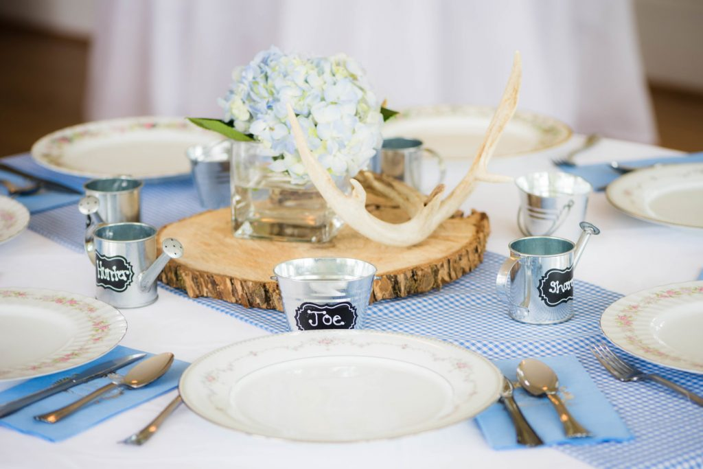 rustic wedding package place settings with light blue and wooden accents