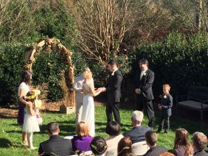 Vow exchange outside our outdoor wedding venue in Raleigh