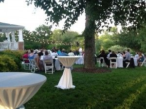 Outdoor wedding set up on the side yard