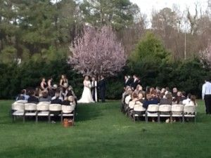 Beautiful Spring time outdoor wedding ceremony