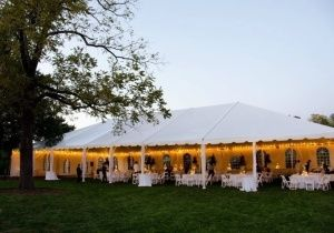 Tents, twinkle lights, and the beautiful sunset complete this outdoor wedding reception in Raleigh