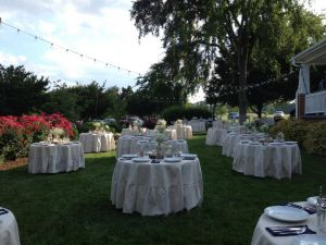 Let us set up your dream outdoor wedding reception on our lawn