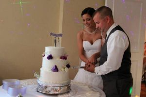 The cake-cutting at the reception is one of our favorite parts!