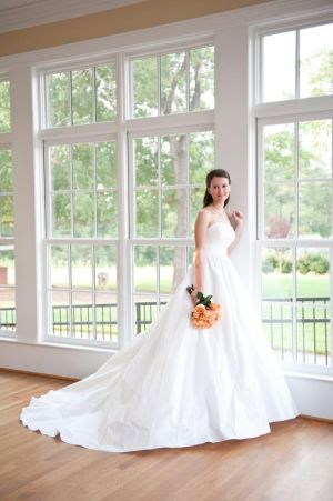 Bridal photos in our sunroom are sure to please