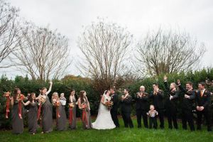 Bridal party photos from a beautiful outdoor wedding in Raleigh