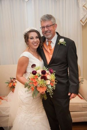 Beautiful bride and her father inside The Rand-Bryan House